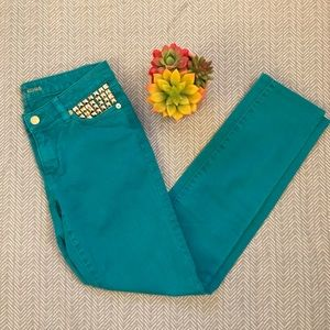 Michael Kors Teal Studded Straight Leg Jeans